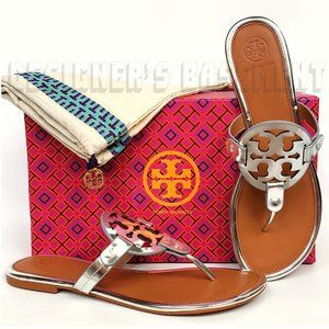 TORY BURCH silver Mirror 8 leather MILLER sandals